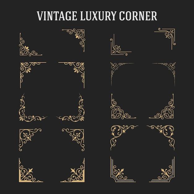Набор винтажных роскошных угловых дизайнов Premium векторы