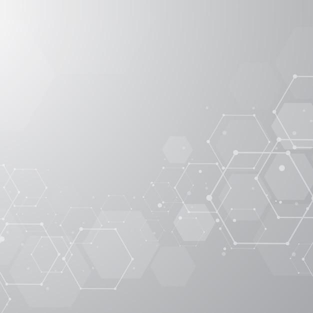 抽象的な六方晶分子構造の背景 Premiumベクター