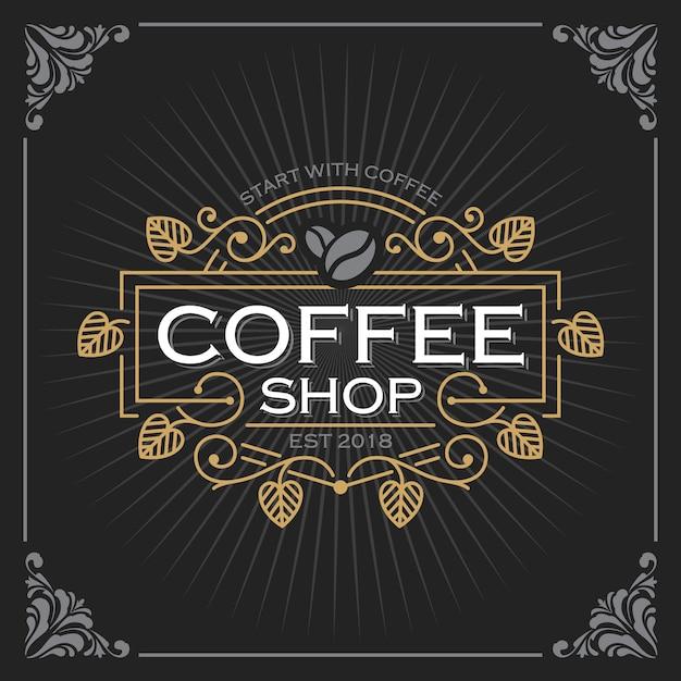 コーヒーショップのロゴ Premiumベクター