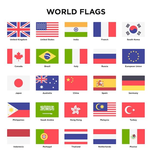 Дизайн мировых флагов Premium векторы