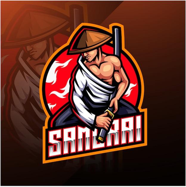 Логотип талисмана самурая киберспорта Premium векторы