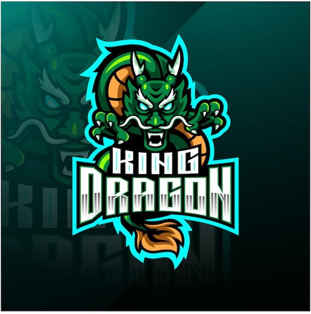 Король драконов талисман дизайн логотипа Premium векторы
