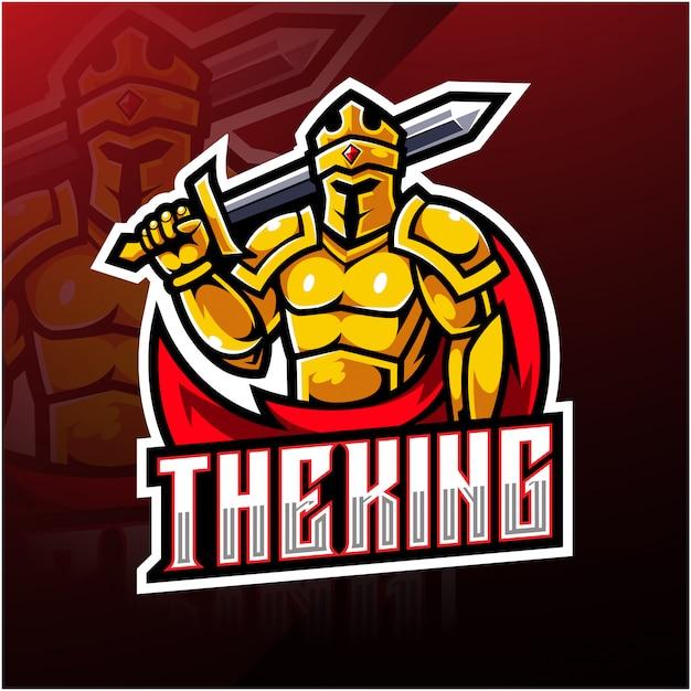 Король киберспорт дизайн логотипа талисмана Premium векторы