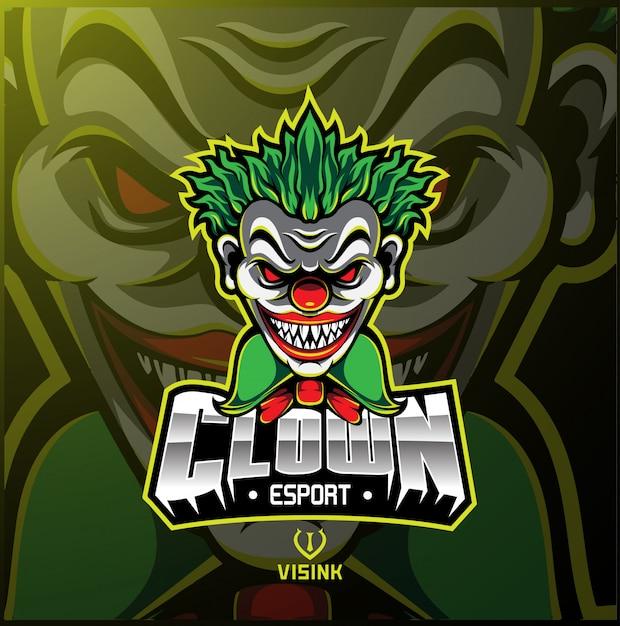 Клоун спортивный талисман логотип Premium векторы