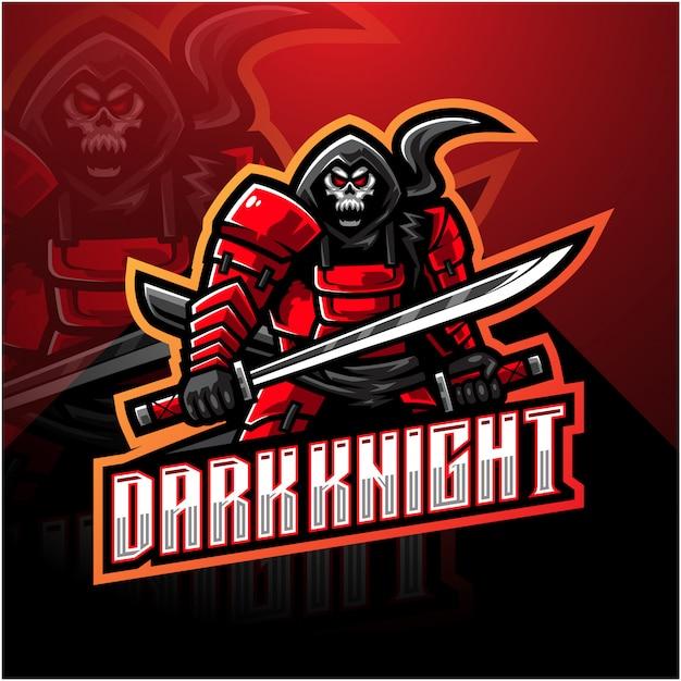 Темный рыцарь киберспорт логотип талисмана Premium векторы