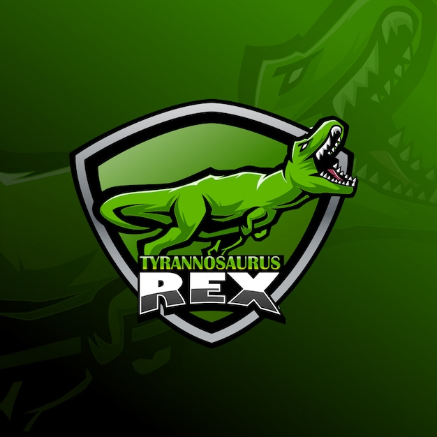 Тиранозавр рекс киберспорт логотип талисмана Premium векторы
