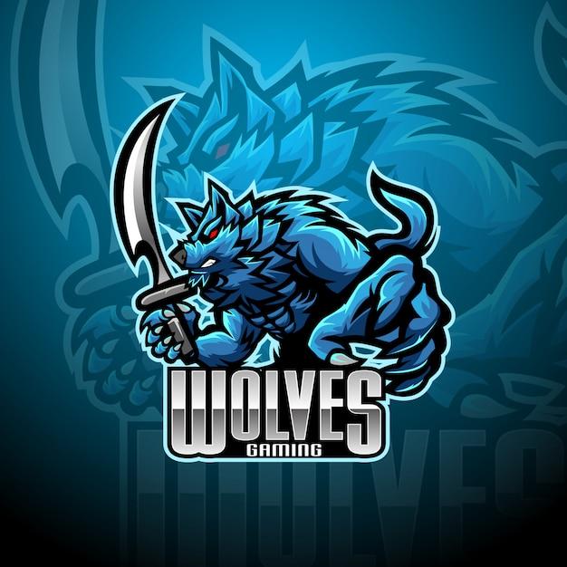 Дикий волк киберспорт талисман логотип Premium векторы