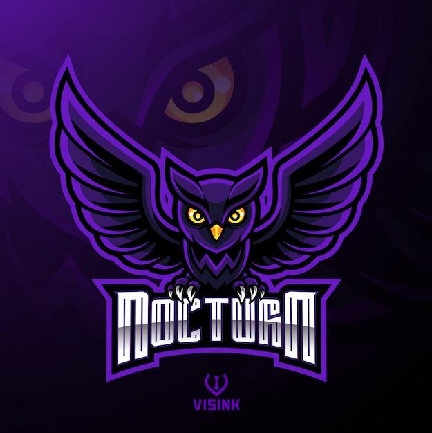 夜行性の鳥のフクロウのマスコットのロゴデザイン Premiumベクター
