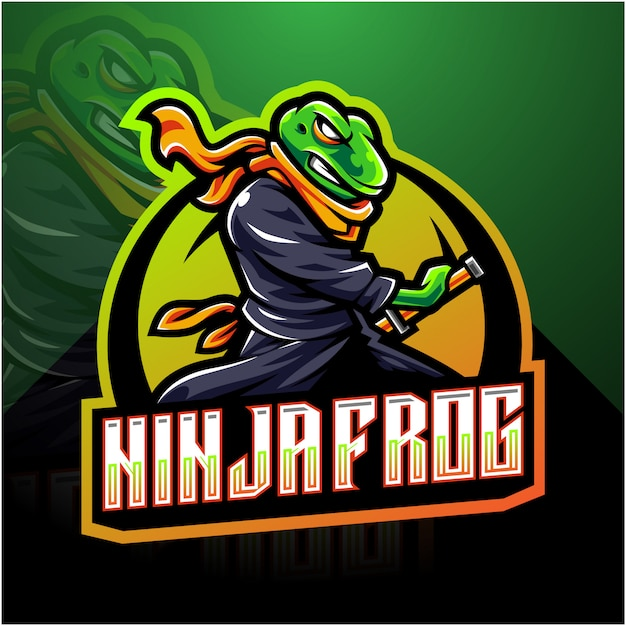 Ниндзя лягушка киберспорт талисман логотип Premium векторы