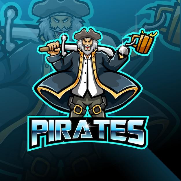 Пираты талисман игровой логотип дизайн Premium векторы
