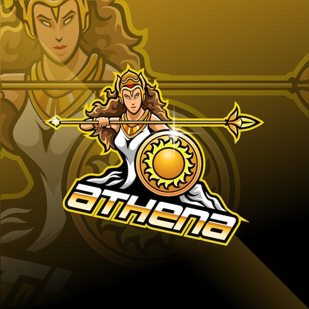 Афина киберспорт дизайн логотипа талисмана Premium векторы