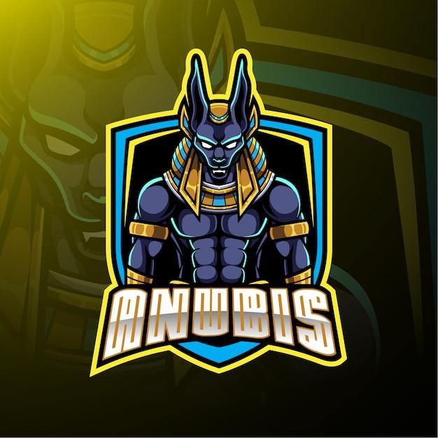 Анубис спортивный талисман логотип Premium векторы