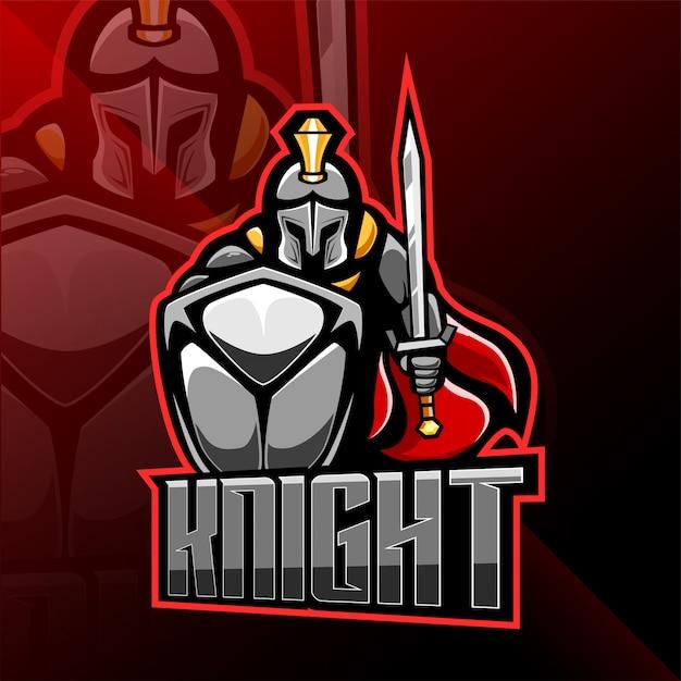 Рыцарь киберспорт талисман дизайн логотипа Premium векторы
