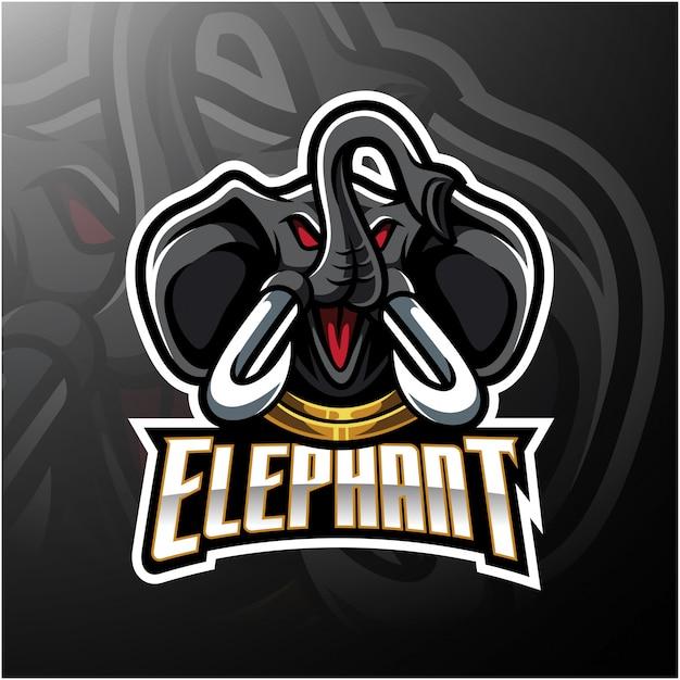 Дизайн логотипа талисмана головы слона Premium векторы