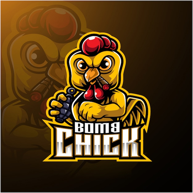 Злой цыпленок логотип с бомбой Premium векторы