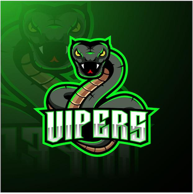 Зеленая гадюка змея талисман дизайн логотипа Premium векторы