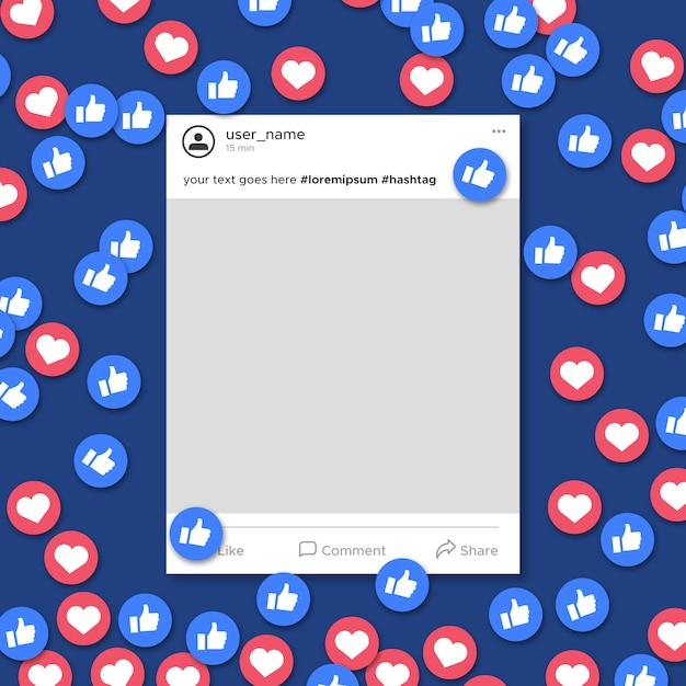ソーシャルメディアフレームテンプレートの通知 無料ベクター