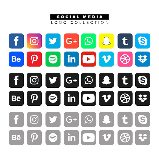 さまざまな色のソーシャルメディアのロゴ 無料ベクター