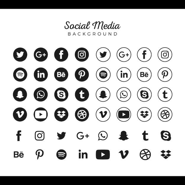 Коллекция логотипов популярных социальных сетей Бесплатные векторы