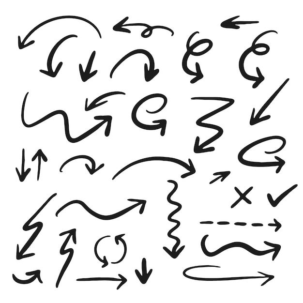 手描きの矢印コレクション 無料ベクター