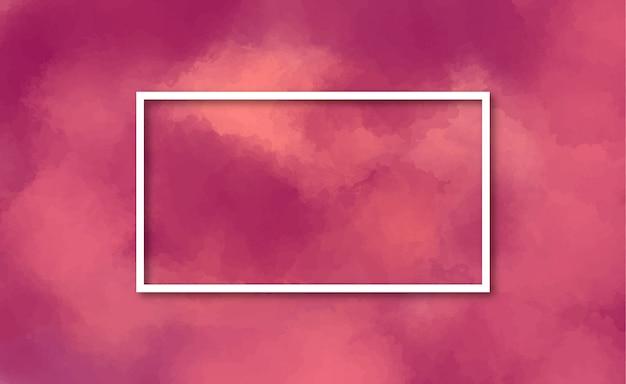 あずき色の水彩背景でエレガントなフレーム 無料ベクター