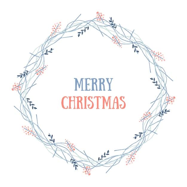 Веселый рождественский венок Бесплатные векторы