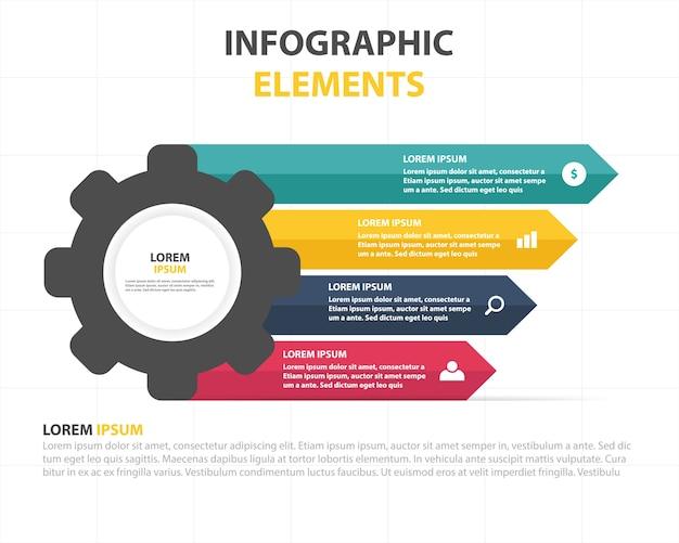 Красочный инфографический бизнес-шаблон с редуктором Бесплатные векторы