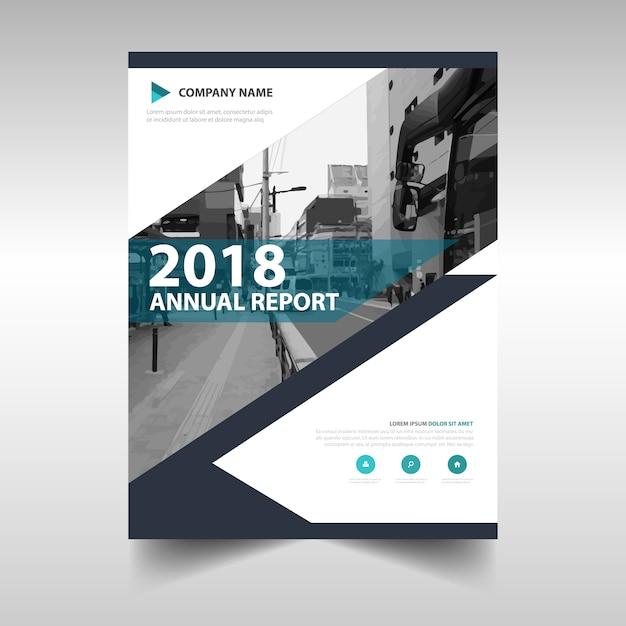 青い創造的な年次報告書の表紙のテンプレート 無料ベクター