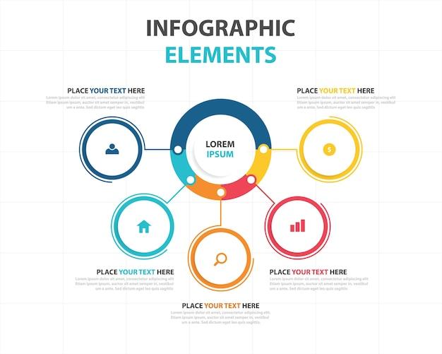 Красочный абстрактный бизнес-инфографический шаблон Бесплатные векторы