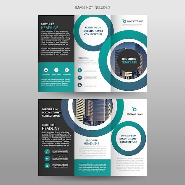 Зеленый круг три раза брошюра флаер шаблон дизайна Premium векторы