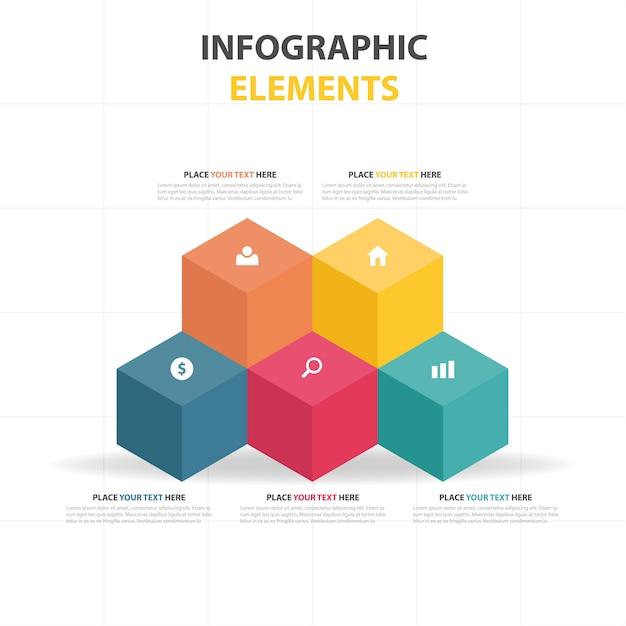 Цветной абстрактный бизнес-инфографический шаблон Бесплатные векторы
