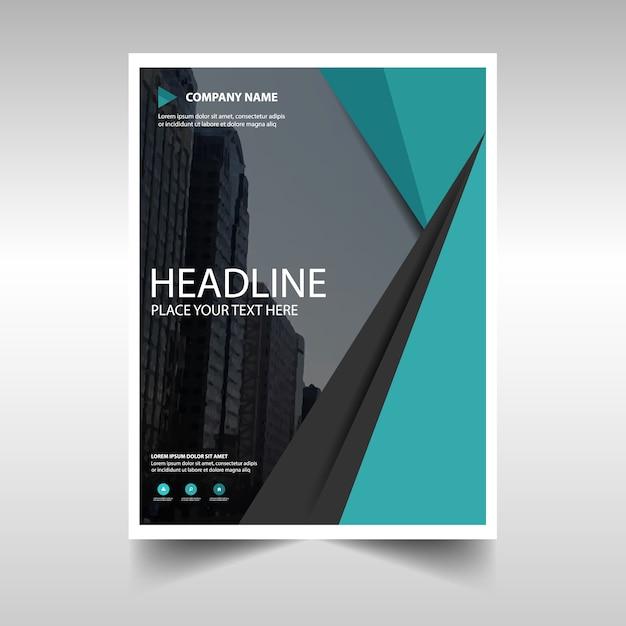 グリーン創造的な年次報告書の表紙のテンプレート 無料ベクター