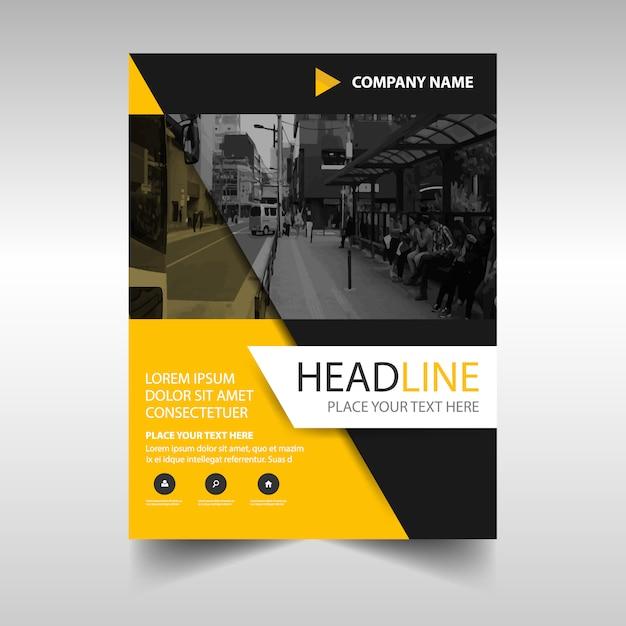 黄色の創造的な年次報告書の表紙のテンプレート 無料ベクター