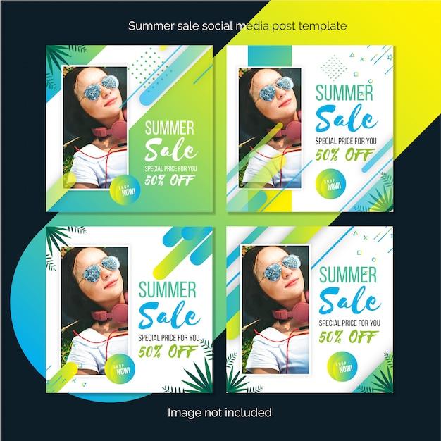 サマーセールソーシャルメディア投稿テンプレートまたは正方形のバナーデザイン Premiumベクター