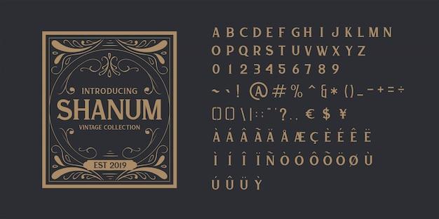 ビンテージアルファベットフォント Premiumベクター