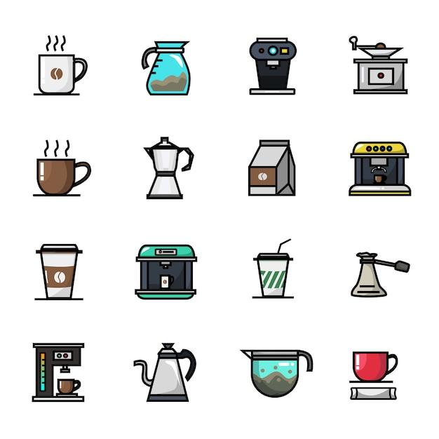 コーヒーショップバリスタカフェ要素フルカラーアイコンセット Premiumベクター