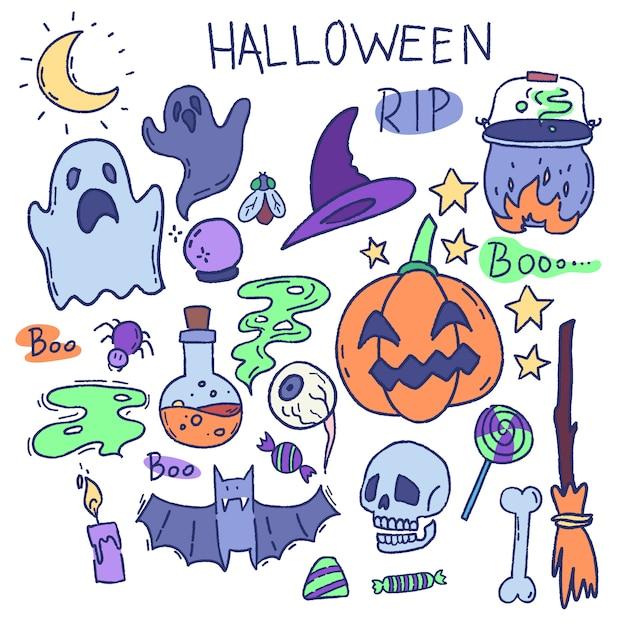 Мультфильм вектор набор элементов хэллоуина. призрак, череп, тыква Premium векторы