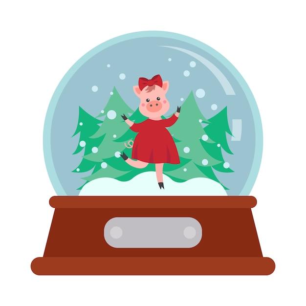 Рождественский снежный ком с мультяшной свиньей Premium векторы