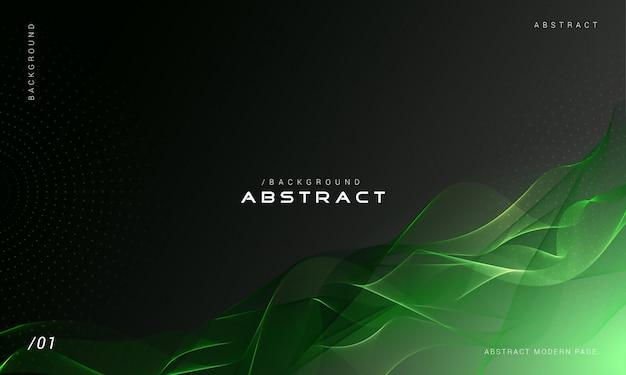 緑の抽象的な煙波背景 Premiumベクター