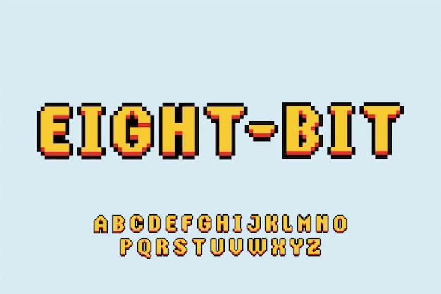フォントレトロゲーム書体スタイルフォントタイプセットアルファベット Premiumベクター