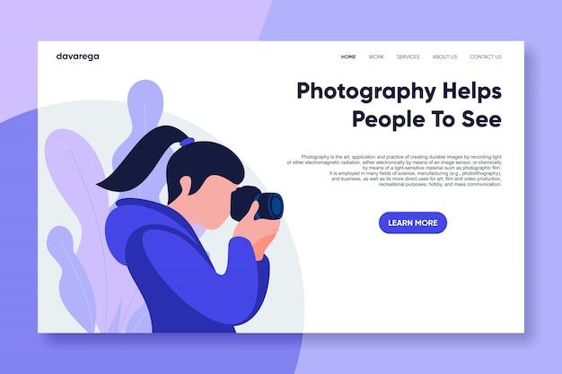 写真家のランディングページデザインフラット Premiumベクター