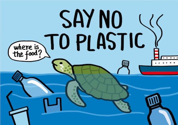 プラスチックにノーと言う。 Premiumベクター