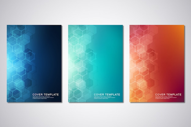 カバーまたはパンフレット、六角形および技術的背景のテンプレート。 Premiumベクター