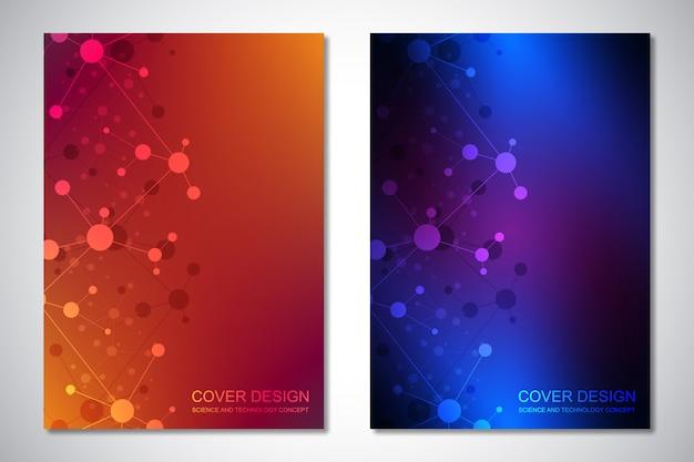 カバーまたはパンフレットのテンプレート、分子背景およびニューラルネットワーク。接続された直線と点の抽象的な幾何学的な背景。科学技術 。 Premiumベクター
