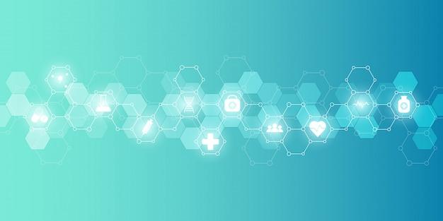アイコンと記号の医療医療と科学の背景。イノベーションテクノロジー。 Premiumベクター