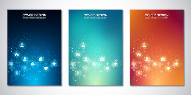 カバーまたはパンフレット用のテンプレート、六角形パターンと医療アイコン付き。ヘルスケア、科学技術。 Premiumベクター