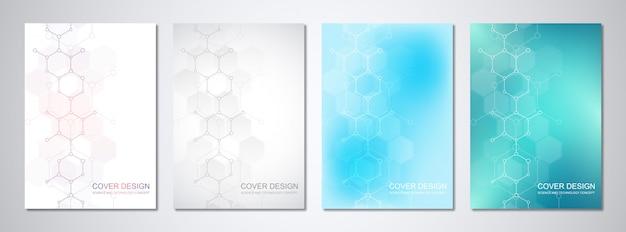 分子構造と化学工学のカバーまたはパンフレットのベクトルテンプレート。 Premiumベクター