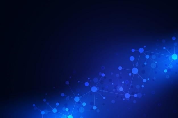 分子構造とニューラルネットワークの抽象的な幾何学的なテクスチャ Premiumベクター