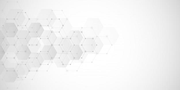 六角形の要素を持つ幾何学的な抽象的な背景 Premiumベクター