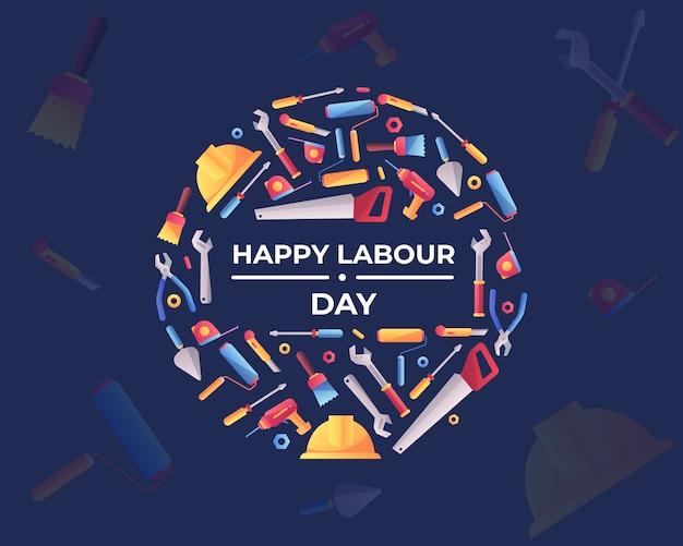 ツールキットと幸せな労働者の日 Premiumベクター